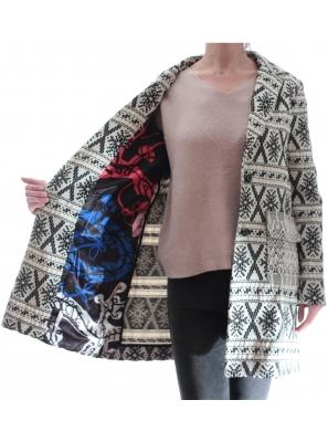 Palton Dama cu motive traditionale Desigual