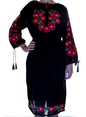 Rochie Traditionala neagra cu motive florale