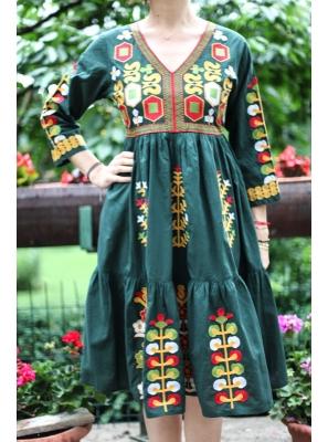 Rochie Traditionala verde Mioara