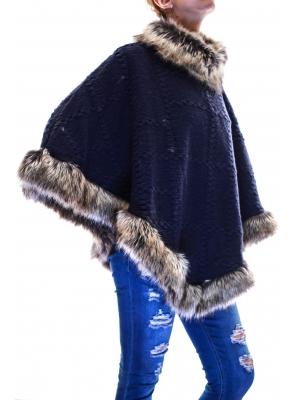 Poncho din lana cu blana sintetica4