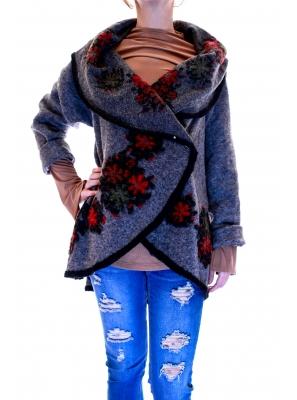 Vesta din lana cu model floral4